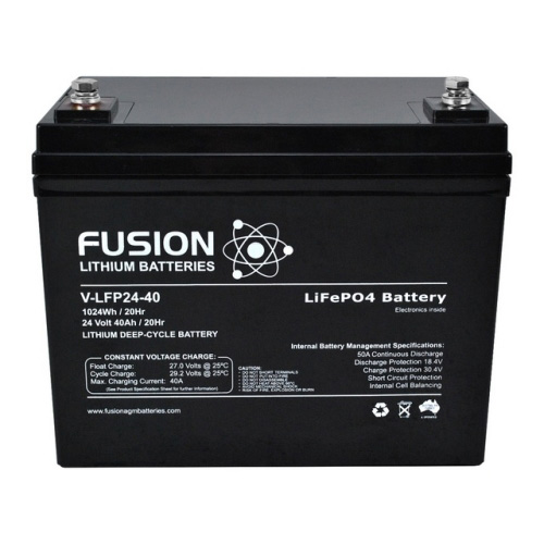 V-LFP-24-40 - Fusion V-LFP-24-40 24V 40AH Lithium Deep-Cycle LiFePO4 Battery</br><strong>**FREE SHIPPING**</strong>
